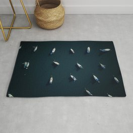 Boats drone view Rug