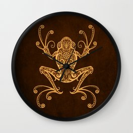 Intricate Golden Brown Tree Frog Wall Clock