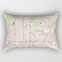 Vintage Map of Gainesville Florida (1966) Rectangular Pillow