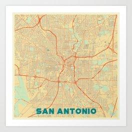 San Antonio Map Retro Kunstdrucke