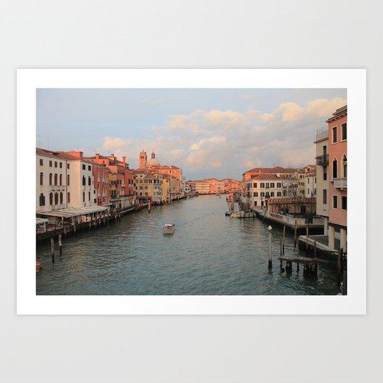 Venetian canal at sunset Art Print