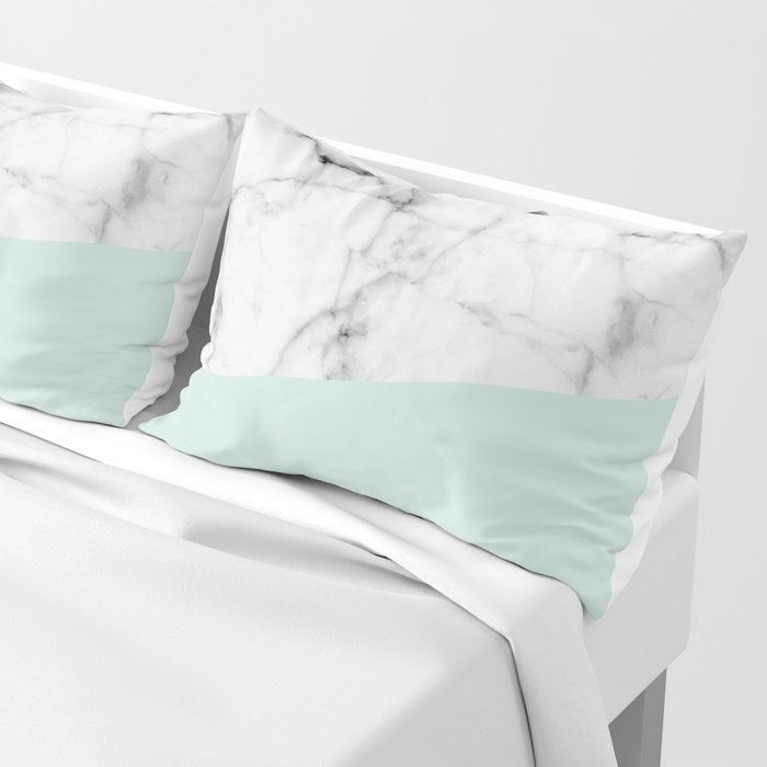 Real White marble Half pastel Mint Green Pillow Sham