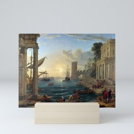 Claude Lorrain Seaport with the Embarkation of the Queen of Sheba Mini Art Print