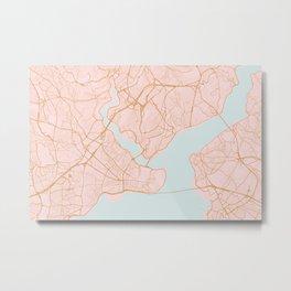 Istanbul map, Turkey Metal Print