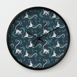 Lemurs walking and sitting in the forest I Wall Clock