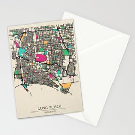 Colorful City Maps: Long Beach, New York Stationery Cards