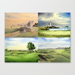Famous Golf Courses Of Scotland - St Andrews Turnberry Carnoustie Royal Troon Canvas Print