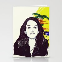 ultraviolence Stationery Cards featuring THE ULTRAVIOLENCE GIRL by Robert Red ART