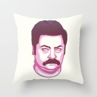 swanson Throw Pillows featuring Ron Swanson by Kristjan Lyngmo