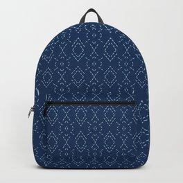Indigo blue diamond sashiko style japanese embroidery pattern. Backpack