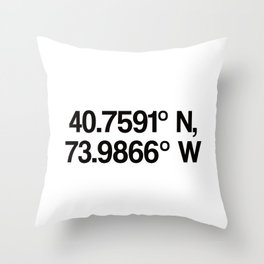 Coordinates of the Richard Rogers Theater - Home of Hamilton: The American Musical Throw Pillow