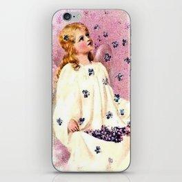 Vintage Angel Violet Flowers iPhone Skin