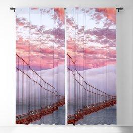 World Famous Golden Gate Bridge San Francisco California Low Hanging Clouds Romantic Evening Red Blackout Curtain