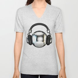 Headphone disco ball Unisex V-Neck