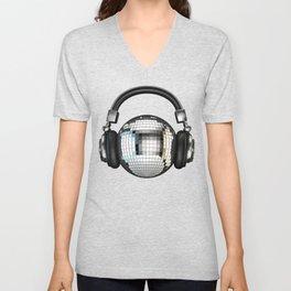 Headphone disco ball Unisex V-Neck