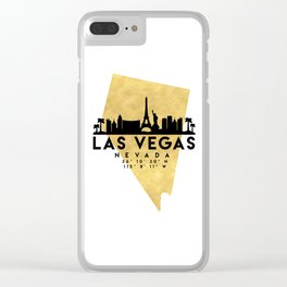LAS VEGAS NEVADA SILHOUETTE SKYLINE MAP ART Clear iPhone Case