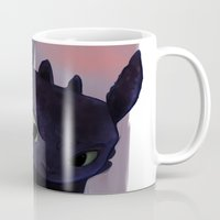 toothless Mugs featuring Toothless by tsunami-sand