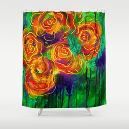 Vibrant Orange Flowers Shower Curtain
