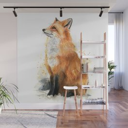 Fox Watercolor Red Fox Painting Wall Mural