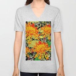 colorful oriental style golden spider mums pattern art Unisex V-Neck