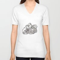 wolves V-neck T-shirts featuring Wolves by Freja Friborg