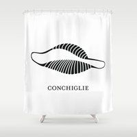 pasta Shower Curtains featuring Pasta Series: Conchiglie by Michelle Ghiotti