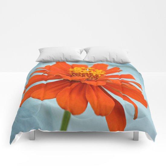 Orange Zinna Comforters
