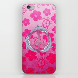Dolphin Peace Pink Flowers iPhone Skin