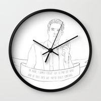 dale cooper Wall Clocks featuring Dale Cooper - Twin Peaks by Phie Hackett