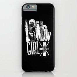 London Girl United Kingdom Union Jack white iPhone Case