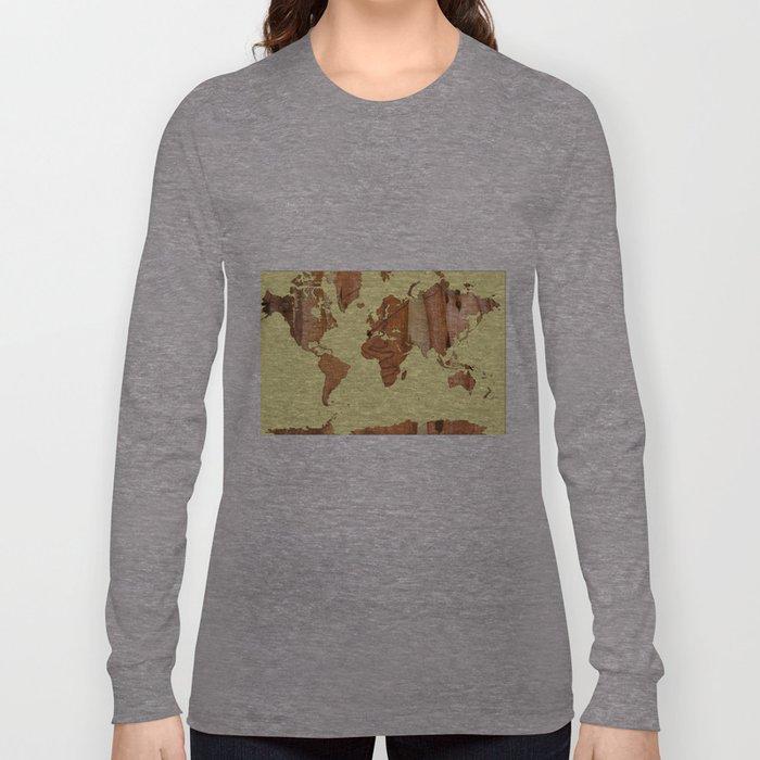 Wood bark - Yellow - Organic World Map Series Long Sleeve T-shirt