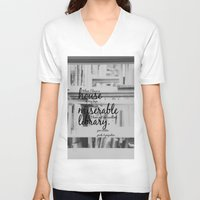 jane austen V-neck T-shirts featuring Jane Austen Library by KimberosePhotography