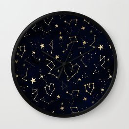 Modern gold constellation hearts stars space on navy blue watercolor Wall Clock