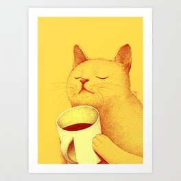 Coffe cat Art Print