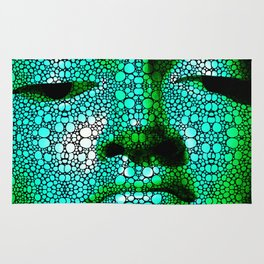 Green Buddha - Stone Rock'd Art By Sharon Cummings Rug