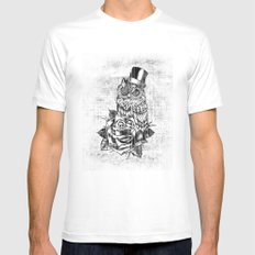Tattoo style owl with top hat and rose. Rockabilly style.  MEDIUM White Mens Fitted Tee