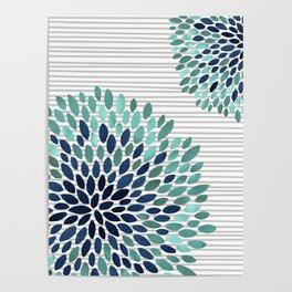 Floral Prints, Gray, Teal and Blue, Abstract Art Poster