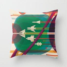 NASA Retro Space Travel Poster #5 Throw Pillow