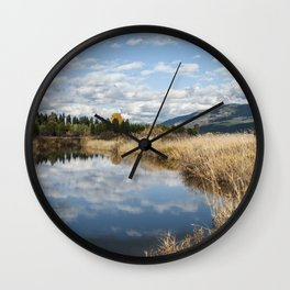 Autumn Pond, Cloud Reflections Wall Clock