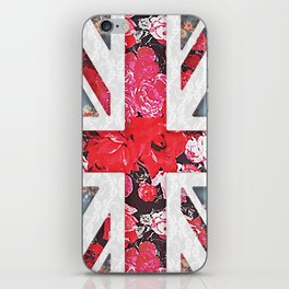 God save the Queen | Elegant girly red floral & lace Union Jack iPhone Skin
