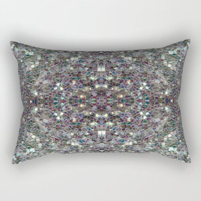 Sparkly colourful silver mosaic mandala Rectangular Pillow