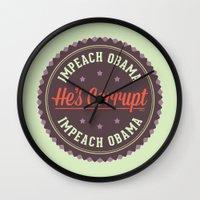 obama Wall Clocks featuring Impeach Obama by politics
