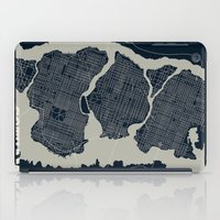 gotham iPad Cases featuring Gotham City Streets Map by CartoPosters Maps