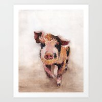 pig Art Prints featuring Pig by Bridget Davidson