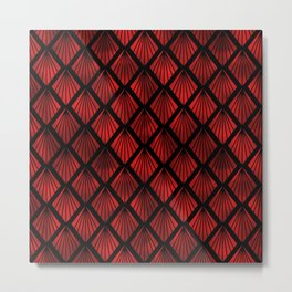 Palm Fans in Black and Ruby Red Vintage Faux Foil Art Deco Vintage Foil Pattern Metal Print