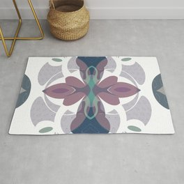 Mauve Decorative Ornament Design Rug