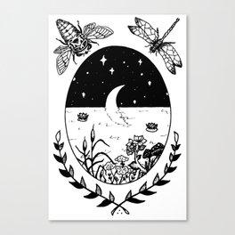 Moon River Marsh Illustration Canvas Print