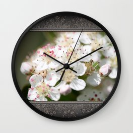 Aronia Blossoms Wall Clock