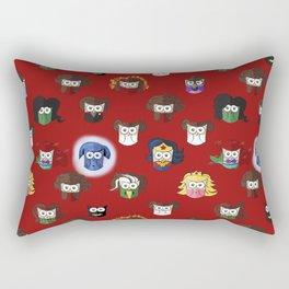Nerd Girl (Owls) - Red Rectangular Pillow