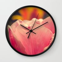 Pretty Pink Flower Wall Clock